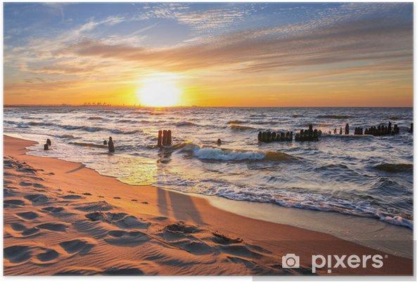 Plakát Západ slunce na pláži u Baltského moře v Polsku - Témata