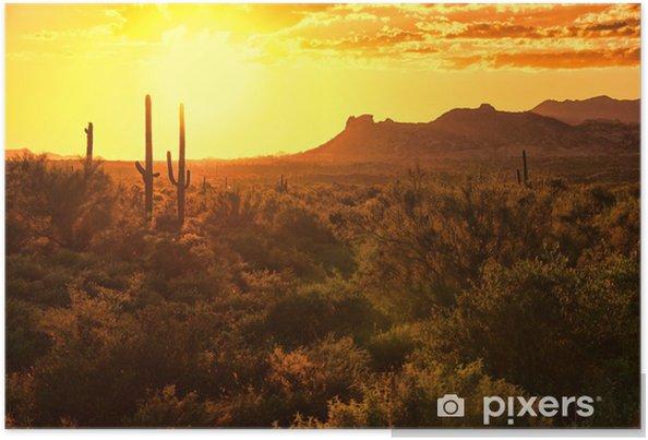 Plakát Západ slunce pohled na arizonské poušti s kaktusy a horami - Amerika