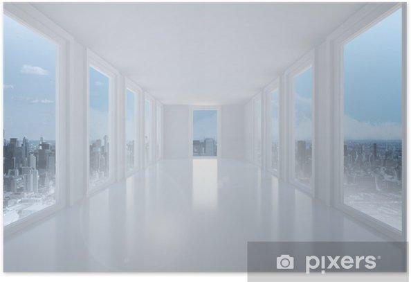 Plakát Zářivě bílá chodba s okny - Město