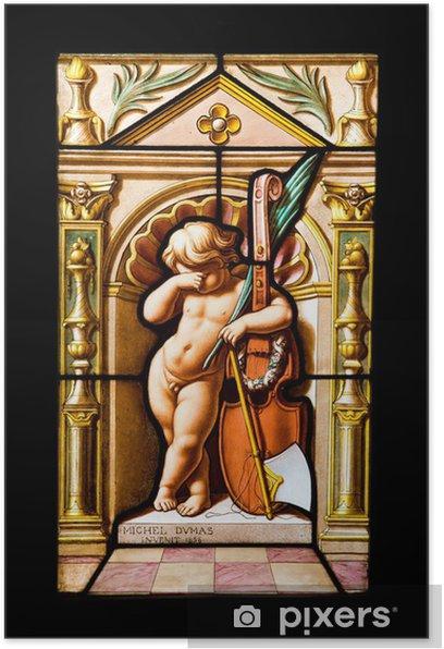 Plakat Zasmucony dzieciak ze skrzypcami w witraże z Blois zamku - Zabytki
