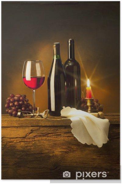 Plakát Zátiší s červeným vínem a svíčky - Témata