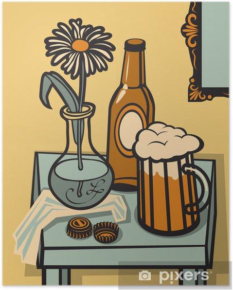 Plakát Zátiší se sklenicí piva, láhev na stole - Jídla