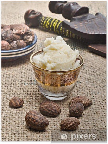 Plakát Zátiší z bambuckého másla reklamních ořechy - Životní styl, péče o tělo a krása