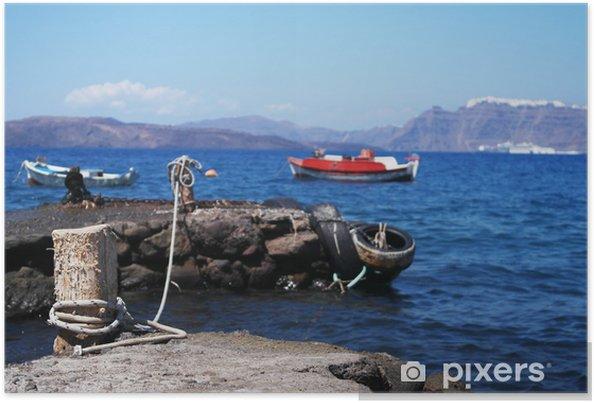 Plakat Zatoka kaldery, Santorini - Wakacje