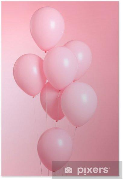 Plakat Zbliżenie balonów na białym tle na różowym tle - Hobby i rozrywka