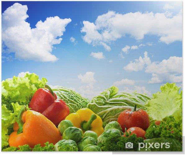 Plakat Zdrowe jedzenie na słoneczny krajobraz błękitne niebo. Mieszane warzywa - Warzywa