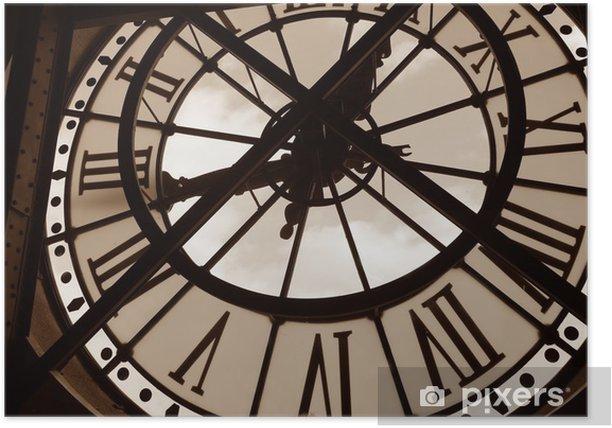 Plakat Zegar w Muzeum orsay. Paryż, Francja - Zegary