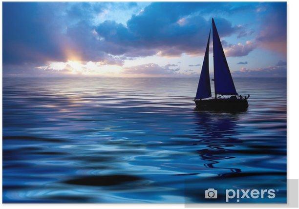 Plakat Żeglarstwo i zachód słońca - Wakacje