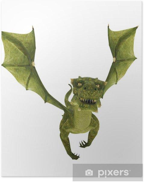 Plakát Zelený drak snadno den - Nálepka na stěny