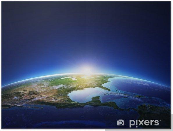 Plakát Země východ Severní Amerika s lehkými mraky - Země