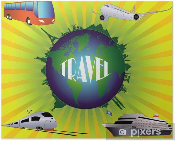 Plakát Zeměkoule s památkami na zářivé pozadí - Značky a symboly