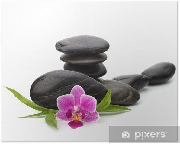 Plakat Zen bilans kamyki. Spa i koncepcja opieki zdrowotnej. - Uroda i pielęgnacja ciała