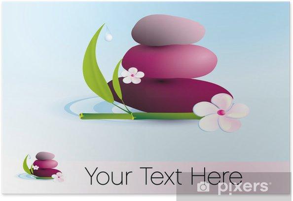 Plakat Zen kamienie i bambusa wektor - Uroda i pielęgnacja ciała