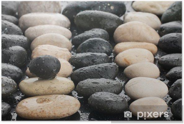 Plakat Zen kamienie i liście z kropli wody - Uroda i pielęgnacja ciała