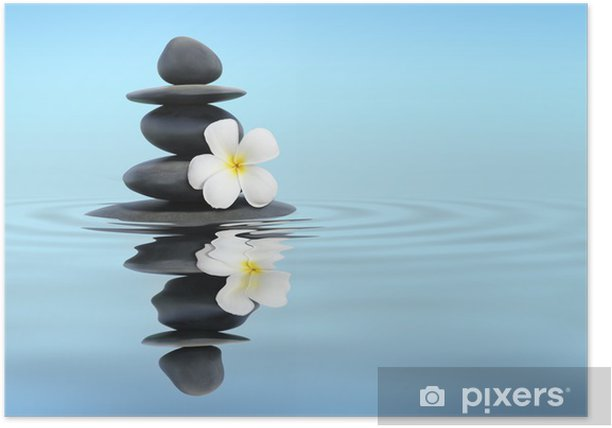 Plakat Zen kamienie z frangipani - Religie