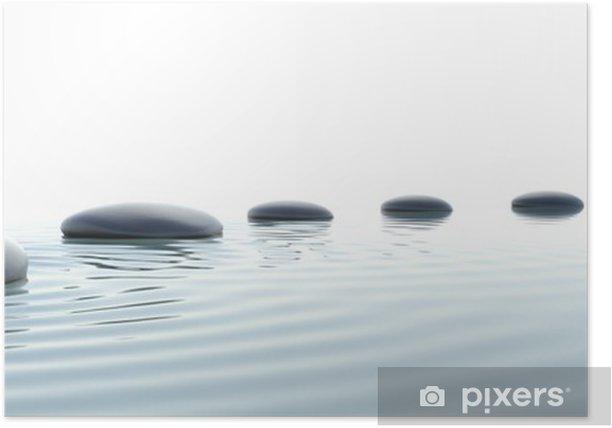 Plakat Zen ścieżka z kamieni w formacie panoramicznym - Style