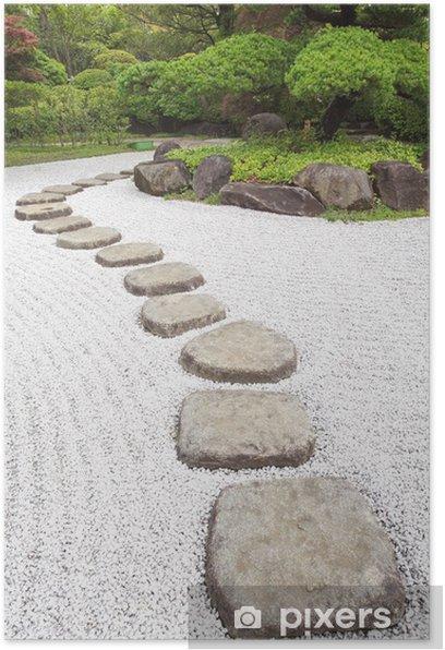 Plakát Zen stone cestu v japonské zahradě - iStaging