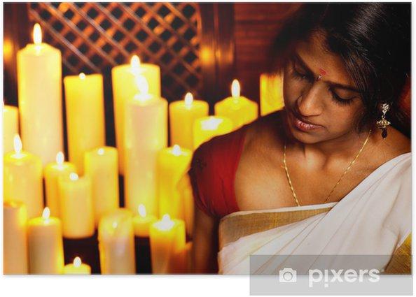 Plakát Žena dělat ajurvédské lázeňské léčby. - Životní styl, péče o tělo a krása