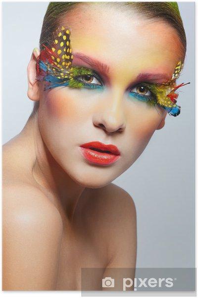 Plakát Žena s módní peří řasy make-up - Žena