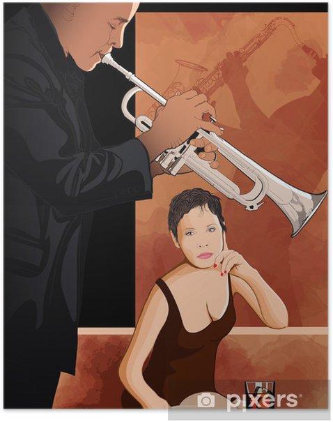 Plakát Žena s sklenici v jazzovém klubu - Hudba