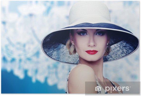 Plakát Žena v klobouku retro portrét. - Žena