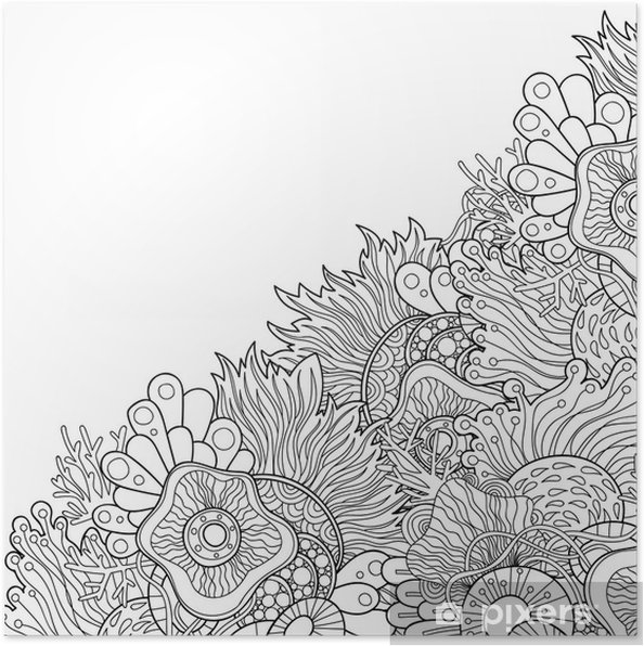 Plakat Zentangle Style Invitation Card Doodle Wavy Frame Design For Card Decorative Abstract Element Border