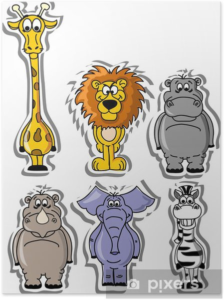 Plakat Zestaw animowanych zwierząt - Ssaki