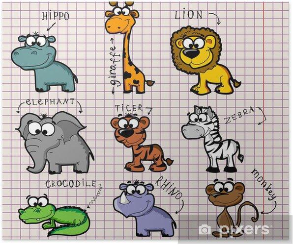 Plakat Zestaw animowanych zwierząt - Zwierzęta