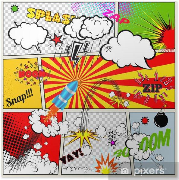 Plakat Zestaw elementów projektu retro komiksów Książka wektorowej, że pęcherzyki - Tematy