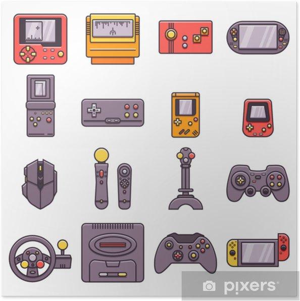 Plakat Zestaw Gier Domowych I Przenośnych Konsol Do Gier Gamepadów Joysticków Joypadów Kontrolerów I Innych Akcesoriów Do Gier W Cienkim Zarysie