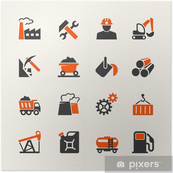 Plakat Zestaw ikon w sieci Web przemysłowe - Przemysł ciężki