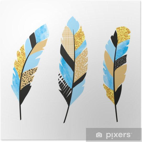 Plakat Zestaw Niebieskich I Złotych Piór Ilustracji Wektorowych