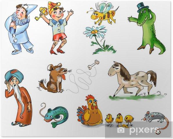 Plakat Zestaw postaci bajkowych i zwierząt - Dzieci