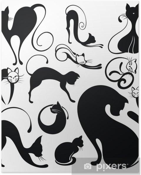 Plakat Zestaw sylwetki kota - Przeznaczenia