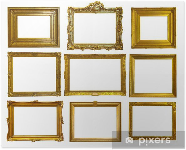 Plakat Zestaw Złote Ramki Na Zdjęcia
