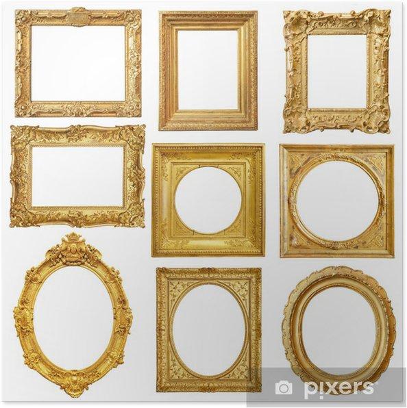 Plakat Zestaw Złote Zabytkowe Ramki Samodzielnie Na Białym Tle