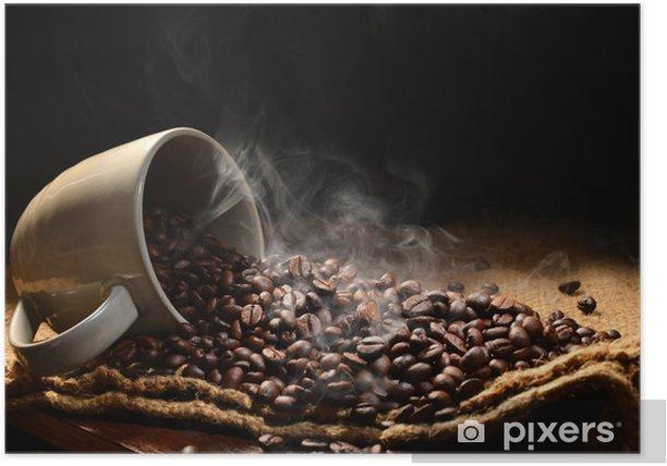 Plakat Ziarna kawy z dymu w filiżanki kawy - Tematy