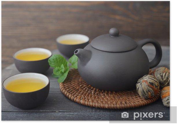 Plakat Zielona herbata w kubki - Posiłki