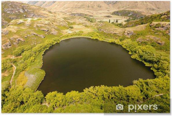 Plakat Zielona oaza w suchych górzystym Central Otago, NZ - Oceania