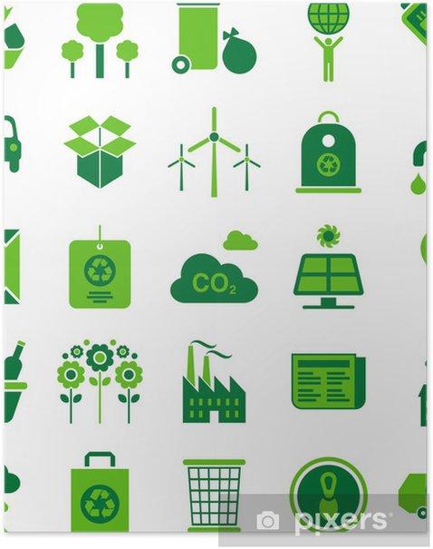 Plakat Zielone ikony środowiska i recyklingu - Ekologia