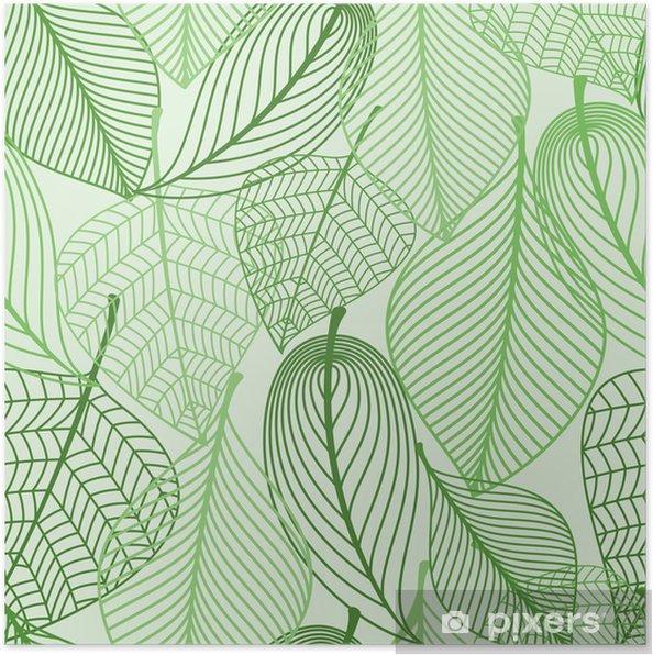 Plakat Zielone liście bezszwowe tło wzór - Style