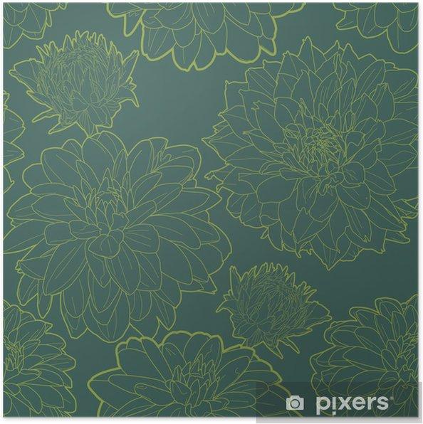 Plakat Zielone rocznika kwiatowy wzór z aster - Tekstury