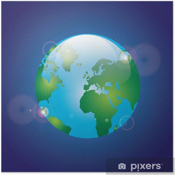 Plakat Ziemia Planeta I Charakter Ikony Pixers żyjemy By Zmieniać