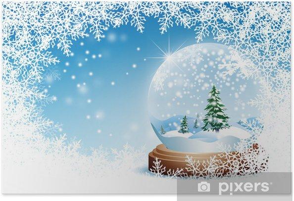 Plakat Zima powitanie szablon karty, świecie śnieg, niebo, niebieski, kryształ - Pory roku