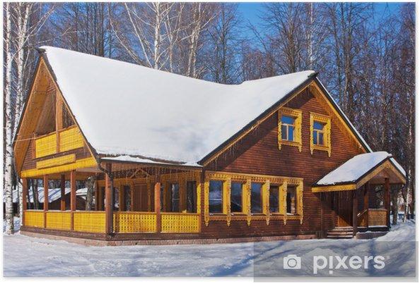 Plakát Zimní den, dům - Roční období