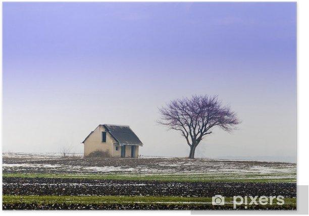 Plakat Zimowy krajobraz na wsi. - Rolnictwo