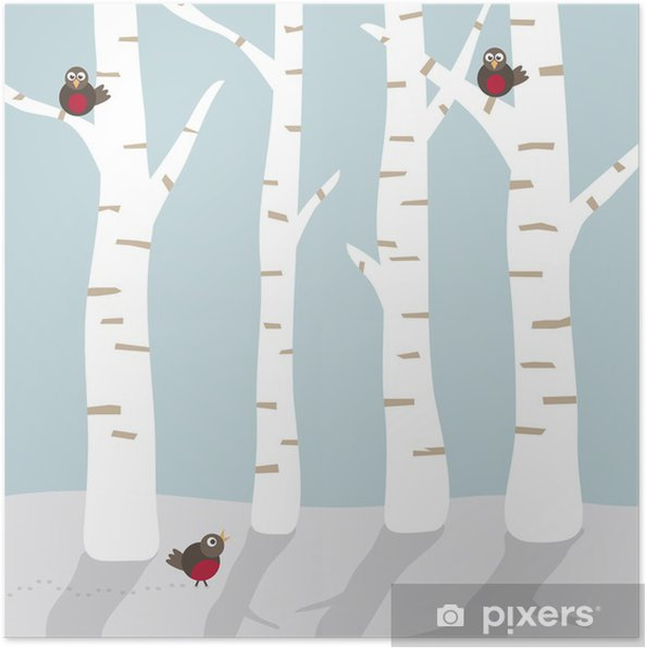 Plakat Zimowy krajobraz z ptakami - Pory roku