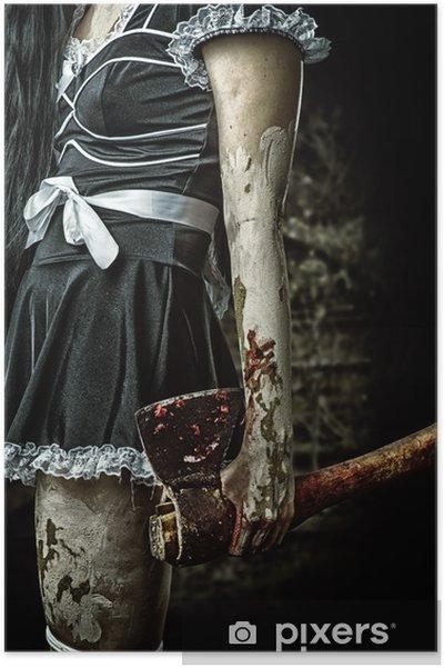 945e052e44d6b4 Plakat Zła kobieta trzyma zakrwawiony topór • Pixers® • Żyjemy by ...