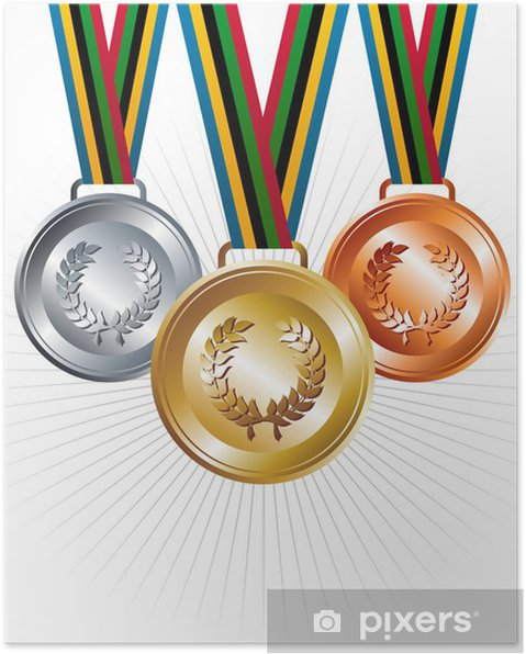 Plakát Zlaté, stříbrné a bronzové medaile se stuhami na pozadí - Zápasy a soutěže