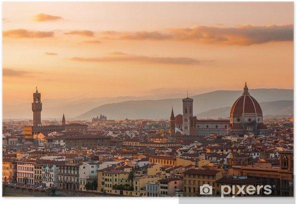 Plakat Złoty zachód słońca nad Florencja, Włochy - Tematy